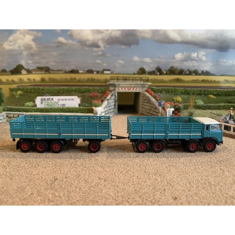 """BREKINA 58406 Fiat 690 """"Mille-Pattes"""" camion + remorque à ridelles (1960) bleu d'eau"""