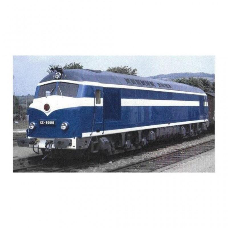 (RESERVATION) MISTRAL 25-01-G002 LOCOMOTIVE DIESEL BELPHEGOR CC 80001 CAEN SNCF BLEU FONCE BLANC...