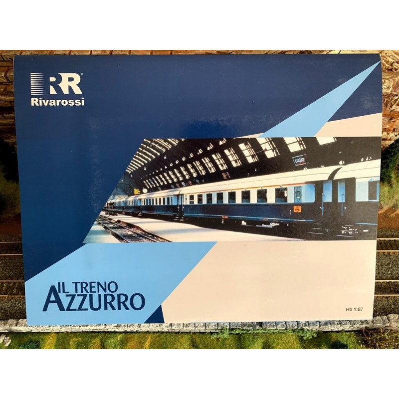 RIVAROSSI REF : 4275 COFFRET ( TRENO AZZURRO ) DE 4 VOITURES 1FOURGON A BAGAGES, 2 X 2ème CLASSE...