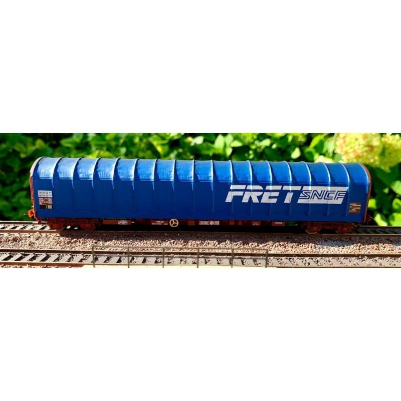HJ 6201 WAGON BACHE A 4 ESSIEUX RILS BLEU FRET SNCF